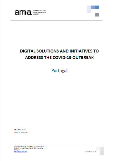 Portugal experience: «Digital solutions and initiatives to address the COVID-19 outbreak»