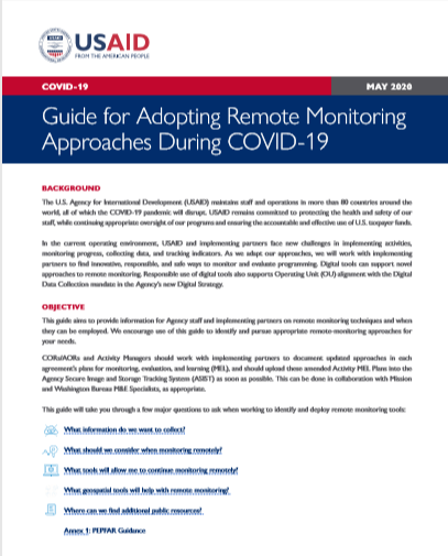 Guide for Adopting Remote Monitoring Approaches During COVID-19